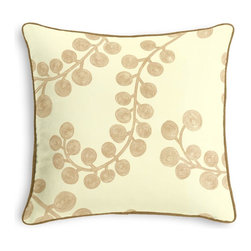 Metallic Gold Swirl Branch Corded Pillow - Black and white photos, Louis XIV chairs, crown molding: classic is always classy. So it is with this long-time decorator's favorite: the Corded Throw Pillow.  We love it in this stunning swirling branch pattern handprinted in metallic gold gray on cream cotton. a fresh centerpiece to any style room, from contemporary to classic.