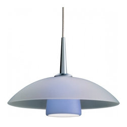 """Bruck Lighting - Jas LED Pendant Light w Blue Matte Glass (Matte Chrome 4 in. Canopy) - Finish: Matte Chrome 4 in. Canopy. Pictured in Matte Chrome. Glass Color: Blue Matte Glass. Mounting: No Canopy. Energy efficient . 12V AC/DC Input * 700mA DC constant current output. 6A, 5W for 1 (3 Watt LED) Included * 3000K / 68 Ipw. Suitable for dry location only. Compatible with selected Bruck electronic transformers and must meet the minimum VA. Overall Dimensions: 2.4"""" H x 7"""" Dia. Made in U.S.A.The Jas 3 Watt LED Pendant with wire mesh accents. Uni-plug design allows Sierra 3 Watt LED pendant to be mounted on any lighting system through the use of an appropriate adaptor, not included. Standard cable length of 59""""."""