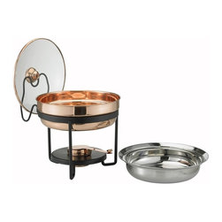 Old Dutch International - Decor Copper Chafing Dish - Includes wrought iron stand. Copper plating. Glass lid. Made from steel. Copper finish. 11 in. dia. x 13 in. H (6 lbs.)A contemporary shape plus a classic copper finish equal a chafing dish that will elevate your entertaining to a higher altitude. The 2.5 Qt. stainless steel food pan is held over a temperature-moderating water pan and adjustable gel-fuel holder to keep everything at the desired temperature without drying out.  See-thru tempered glass lid nestles securely in its own holder for easy, one-handed serving. Oven- and dishwasher safe stainless steel food pan. Hand-wash glass lid.  All other parts wipe clean.