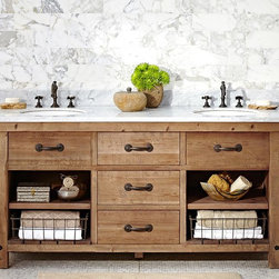 Benchwright Double Sink Console, Wax Pine Finish - The distressed wood mixed with the polished Carrara marble top makes this double vanity look and feel so very Zen! I imagine any bathroom with this would feel like a spa retreat each and every time you walk in.
