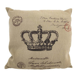 """Zeckos - Canvas French Postcard Crown Print Throw Pillow, Tan and Brown, 16""""x16"""" - This throw pillow is a wonderful accent for anyone who loves all things French It features a French postcard style royal Crown theme on the front, in brown, against a tan canvas cover. The pillow measures 16 inches by 16 inches, and has a zipper on the back of the cover so you can remove and wash it. The pillow insert is 100% polyester. It looks lovely on beds, chairs, and couches anywhere in your home, and makes a great gift for a friend."""