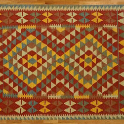 Kilim Qasqagi - Flat weave rugs are a type of hand knotted area rugs that are made by weaving wool on a foundation of cotton warps on a loom. The large difference in these handmade rugs from others is that they do not have the thick wool pile. These rugs have the same beauty and durability as thick pile oriental rugs but they have the thin and flat appearance that looks more like needlepoint. You can shop our entire selection of oriental rugs online and see the unique beauty of our different designs. These discount oriental rugs are of the finest quality and are available in a wide range of sizes. Our flat weave area rugs are often used as accent rugs or to hang on the wall or to drape over furniture. We also have larger Oriental carpet that will make a beautiful foundation for any room.