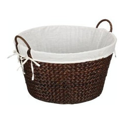 Household Essentials - Banana Leaf Round Laundry Basket, Brown - Our Banana Leaf Round Laundry Basket in brown color has a sturdy and natural look. The basket has two handles which makes carrying laundry to and from the machine or from the clothesline easy. It has a cotton liner which attaches around the handles, staying firmly in place so delicate fabrics won't snag. This durable basket keeps laundry manageable with charm and simplicity.