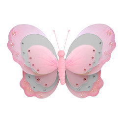 Bugs-n-Blooms - Butterfly Decorations Medium Pink Gray Hanging Triple Layered Butterflies Wall C - Hanging Triple Layered Butterfly - Beautiful nylon hanging kids wall or ceiling decor, baby decoration, childrens decorations.  Ideal for Baby Nursery Kids Bedroom Girls Room.  This gorgeous 3 layered wing butterfly is embellished with sequins, glitter and has a fabric body.  This pretty butterfly decoration is made with a soft bendable wire frame. Beautiful 3D hanging nursery, bedroom, birthday party, baby shower or wedding decor.  Includes a piece of fishing line and hoop for easy hanging to any wall or ceiling (removable if desired).  Sold individually.  Visit our store for more great items.  Additional sizes are available in various colors, please see store for details.  Please visit our store on 'How To Hang' for tips and suggestions.  Please note: Sizes are approximate and are handmade and variances may occur.  Price is per each butterfly (1) piece