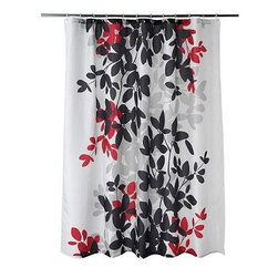 Zen Leaf Shower Curtain - This is a beautiful shower curtain. The black mixed with the white and gray is a sophisticated palette, but then it's punched up with a pop of red. I like that the pattern is quite large and takes up most of the panel.