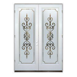 Sans Soucie Art Glass (door frame material T.M. Cobb) - Glass Front Entry Door Sans Soucie Art Glass Carmona - Sans Soucie Art Glass Front Door with Sandblast Etched Glass Design. Get the privacy you need without blocking light, thru beautiful works of etched glass art by Sans Soucie!  This glass is semi-private.  (Photo is view from outside the home or building.)  Door material will be unfinished, ready for paint or stain.  Bronze Sill, Sweep.  Satin Nickel Hinges. Available in other finishes, sizes, swing directions and door materials.  Dual Pane Tempered Safety Glass.  Cleaning is the same as regular clear glass. Use glass cleaner and a soft cloth.