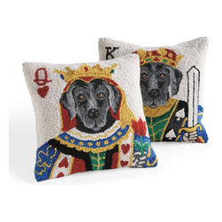Grandin Road - Playful Pair Pillow - Decorative throw pillow featuring the canine version of a royal playing card. Cover is hand hooked in 100% wool. Natural cotton velveteen backing. Polyfill insert included; hidden zipper. Spot or dry clean only. Teach yourself new decorating tricks: toss the whimsical Playful Pair throw pillow onto your sofa, loveseat or armchair and cozy up to a black lab version of the queen of hearts or the king of spades. Each honest-eyed pup, all dressed up in royal playing card garb, is hand hooked in wool. Shuffle your own deck: get one of each design or give one (or both) as a housewarming gift to your favorite dog lover.  .  .  .  .  . Each pillow sold separately . Imported. A Grandin Road exclusive.