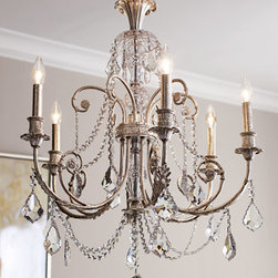 "Horchow - Delphine Chandelier - Old-fashioned glamour makes an appearance here on this six-light wrought iron chandelier with silvery finish and a display of clear, hand-cut crystals to enrich the visual palette of your setting. Uses six 60-watt bulbs. 26""Dia. x 30""T with 6'L chain. C..."