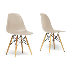 Baxton Studio - Baxton Studio Azzo Beige Plastic Mid-Century Modern Shell Chair -Set of 2 - The retro simplicity of this classic beige modern shell chair will instantly enhance the modernity of your room. Each of these mid-century modern dining chairs is made from durable molded plastic with an ergonomically-shaped and curved seat. The legs are wooden and include steel hardware in black as well as beige plastic tips to protect sensitive flooring. To clean, wipe with a damp cloth.  This item is made in China, and assembly is required.  This item is also available in black, red, or white arm chairs or side chairs (each sold separately).