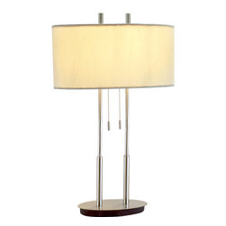 Adesso - Adesso 4015-22  Duet Table Lamp - Each Duet lamp has an oval base from which two poles extend, each holding one socket that has its own on/off pull chain. Satin steel with oval ivory silk shade. Two satin steel finials secure the flat white metal disk that sits atop of the shade, casting all light downward.  About Adesso  Adesso was established in 1994, with the vision and belief that consumers who sought high-end contemporary home products at affordable prices would be able to do so. �Adesso has been able to redefine residential spaces with its innovative, well-designed and well priced products. They have integrated an array of colors and materials in the design of their products to include renewable bamboo, cork, glass, resin, woven fabric, rice-paper and even metals.� Adesso is shaping the future of home design and they�re driven by the simple idea that your home is a canvas.
