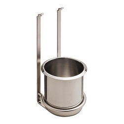 "Hafele America Co. - Single Utensil Holder For Backsplash System - This sleek single compartment Utensil Holder is one of the many interchangeable components that can be attached to the Backsplash Railing System  5 7/8"" x 6"" x 13 1/8"" Material: Steel plated; Finnish: nickel matte/stainless steel"