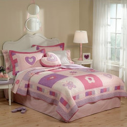 Pem America - Pem America Spring Hearts Bedding Set Multicolor - QS6344TW-2300 - Shop for Quilts from Hayneedle.com! Soft pinks purples and whites blend together beautifully on the Pem America Spring Hearts Bedding Set. Decorated with hearts butterflies and flowers this sweet quilt set is made from 100% cotton with a warm 90% cotton/4% polyester/1% other fiber fill. Bedding Set Components: Twin: quilt 1 sham Full/Queen: quilt 2 shams Quilt Dimensions: Twin: 86L x 68W inches Full/Queen: 86L x 86W inches About Pem America Makers of high quality handcrafted textiles Pem America Outlet specializes in bedding that enhances your comfort and emphasizes the importance of a good night's rest. Comforters quilts pillows and other items for the bedroom are made with care and craftsmanship by Pem America. Their products cover a wide range of materials styles colors and designs all made with long-lasting quality construction and soft long-wearing materials. Details like fine stitching embroidery and crochet decorations and reinforced seaming make Pem America bedding comfortable and just right for you and your family.