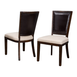 Great Deal Furniture - Amari Brown Leather Beige Fabric Dining Chairs (Set of 2), Dark Wood - The Amari Dining Chair is a perfect fit for any space in your home. Enjoy the contemporary shape and lines as an added element of design, that combines wood, leather and fabric. Complement your dining table with these eclectic chairs for an impressive dining scape.