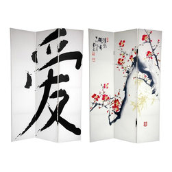 "Oriental Unlimited - 6 ft. Tall Double Sided Cherry Blossoms & Lov - One double-sided divider, both sides shown in image. Express your love for Japanese style with this pair of art prints, photographed and enlarged specifically for our screens. On the front is a subtle, serene ink and watercolor Sumi-e style painting of a blossoming Cherry tree branch, symbolic in the Land of the Rising Sun of love and affection. The back features a huge, classic brush art rendering of the ""Love"" symbol in Kanji (Japanese writing). These simple, beautiful East-Asian works of art provide lovely interior design elements for your living room, bedroom, dining room or kitchen. This 3 panel screen has different images on each side. High quality wood and fabric covered room divider. Well constructed, extra durable, kiln dried Spruce wood frame panels, covered top to bottom, front, back and edges. With tough stretched poly-cotton blend canvas. 2 Extra large, beautiful art prints - printed with fade resistant, high color saturation ink, creating 2 stunning, long lasting, vivid images, powerful visual focal points for any room. Amazingly inexpensive, practical, portable, decorative accessory. Almost entirely opaque, double layer of canvas, providing complete privacy. Easily block light from a bedroom window or doorway. Great home decor accent - for dividing a space, redirecting foot traffic, hiding unsightly areas or equipment, or for providing a background for plants or sculptures, or use to define a cozy, attractive spot for table and chairs in a larger room. Assembly required. 15.75 in. W x 70.88 in. H (each panel)"