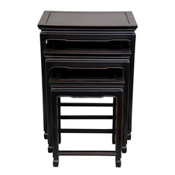Oriental Furniture - Rosewood Nesting Tables - Antique Black - A fine quality set of three nested tables, convenient for drinks, snacking, or dining in the living room, family room, or office. They're elegant decorative accessories, lending a subtle Asian accent with a beautiful distressed, antiqued black lacquer finish. The 3 descending table sizes can provide unique decorative stands for plants, planters, sculptures, photos, or curio display, as well as more traditional drinking and snacking.