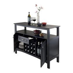 Winsome Wood - Buffet with Wine Storage - Perfect addition for kitchen or dining room. Functional design that increases organization with plenty of storage space. Two cabinets with wood frame door, one utility drawer and open shelf. Open shelf surface: 49.39 in. L x 14.33 in. W with 6.89 in. clearance. Holds 12 wine bottles with each slot size: 3.54 in. W x 13.78 in. D x 3.54 in. H. A pull out drawer: 13.94 in. W x 11.06 in. D x 3.54 in. H. Two cabinet with wood doors: 12.28 in. W x 13.31 in. D x 16.69 in. H. Made from composite wood. Black finish. Assembly required. 45.75 in. W x 15.75 in. D x 32.13 in. H
