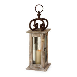 iMax - iMax Lantern X-50048 - This fine IMAX Lantern has a unique and interesting design. It's crafted from three different materials, including a Scandinavian washed natural pine wood frame, glass panels and gracefully scrolled metal. Hang this eye-catching piece in any outdoor space that needs add a touch of casual, rustic charm.