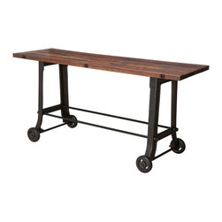 Kathy Kuo Home - Brooklyn Industrial Reclaimed Wood Cast Iron Console Bar Table - Crafted with utmost care, this versatile piece can function as both a console or a bar table. Regardless of where you place it, this stunner is sure to turn heads, thanks to its sturdy, eye-catching cast iron base upon which a reclaimed slab of hardwood sits. Whether you're gathering friends for a round of drinks or utilizing it as a catch all console, this is a piece that's sure to get a lot of use in your home. Enjoy a one year warranty on this piece.