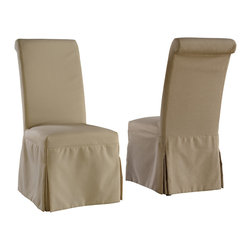 Modus Furniture International - Regent Linen Parsons Chair with Beige Tan and Gray Slipcovers (set of 2 chairs) - Dressed or undressed, the Monroe collection blends slipcovers and color choices with classic parsons chair design.  Each Monroe chair is upholstered in a beige polyester linen with espresso wood legs and includes beige, tan and gray slipcovers.