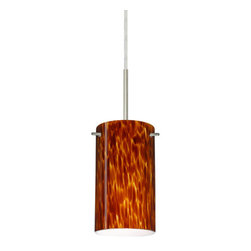 Besa Lighting - Besa Lighting 1BT-440418-MED Stilo 1 Light Cord-Hung Mini Pendant - Stilo 7 is a classic open-ended cylinder of handcrafted glass, a shape that will stand the test of time. Our Amber Cloud glass is full of floating, vibrant warm tones that range from light gold to deep amber. When lit, the humid color palette illuminates to exude a harmonious display. This decor is created by rolling molten glass in small bits of brown hues called frit. The result is a multi-layered blown glass, where frit color is nestled between an opal inner layer and a clear glossy outer layer. This blown glass is handcrafted by a skilled artisan, utilizing century-old techniques passed down from generation to generation. Each piece of this decor has its own artistic nature that can be individually appreciated. The cord pendant fixture is equipped with a 10' SVT cordset and a low Profile flat monopoint canopy.Features:
