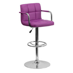 Flash Furniture - Flash Furniture Contemporary Purple Quilted Vinyl Adjustable Height Bar Stool - This sleek dual purpose stool easily adjusts from counter to bar height. The simple design allows it to seamlessly accent any area in the home. Not only is this stool stylish, but very comfortable to provide you with an amazing sitting experience! The easy to clean vinyl upholstery is an added bonus when stool is used regularly. The height adjustable swivel seat adjusts from counter to bar height with the handle located below the seat. The chrome footrest supports your feet while also providing a contemporary chic design. [CH-102029-PUR-GG]