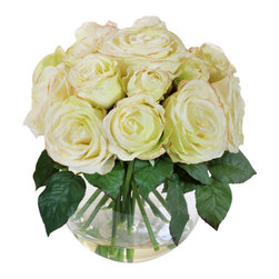 "Jane Seymour Botanicals - Roses in Bubble Bowl, White - A cluster of pure white roses from buds to full blooms make a sweetly innocent statement in your favorite setting. The best part? These remarkably realistic ""forever flowers"" will never lose a single petal."