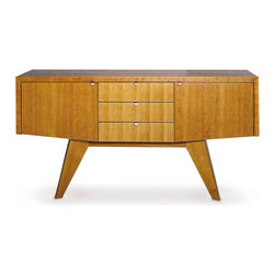 Vector Sideboard - The balance of angles, proportions and structure of this sideboard combines luxury with everyday functionality. The Vector sideboard is designed by Sherwood Hamill, co-founder of angela adams, and is handcrafted in Portland, Maine. Shown here in Cherry.