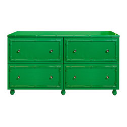 "Worlds Away - Worlds Away Emma Green Lacquer 4 Drawer Dresser - The Worlds Away Emma dresser captivates with an eclectic Palm Beach vibe. Striking bamboo detailing frames the green chest's storage drawers for intriguing style. 60""W x 20""D x 34""H; Green lacquer finish; Four drawers on glides; Round glass knobs with nickel detailing"