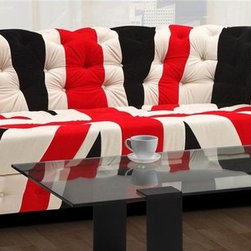 Zuo Modern - Union Jack Sofa - Tufted classic look. Plush microfiber upholstery. Weight capacity: 100 lbs.. Made from wood. Red, white and black color. Assembly required. Seat depth: 24 in.. Seat height: 15.50 in.. Overall: 83 in. L x 43 in. W x 30.50 in. H (114.60 lbs.). Warranty. Care Instructions