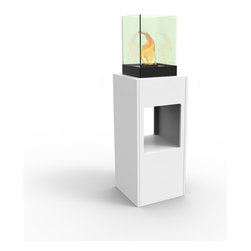 Decorpro - Vertikal Bio Ethanol Fireburner Stand and Display Unit In White - Vertikal is the ultimate party Fireburner / Firepot. Make a statement and create a night to remember when you throw a party. Use the lower cubby hole for small pieces of art or store bottles of wine. Available in seven colours.