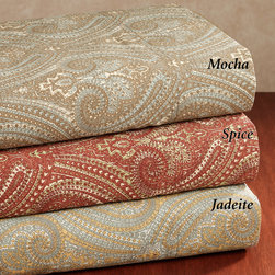 300 Thread Count Tuscan Paisley Cotton Sateen Sheet Set - Mix up your bedding with a set of red paisley-patterned Tuscan sheets.