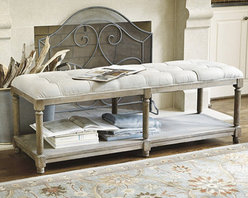 Ballard Designs - Saverne Tufted Bench - Saverne Tufted Bench features:. Open shelf beneath for shoes, bags or storage baskets. Imported. Our Saverne Tufted Bench is welcoming in the entry, at the foot of a bed or as unconventional seating at the dining table. The frame is crafted of solid hardwood with turned oak legs and weathered wood finish. Comfortable, deeply tufted seat is hand covered in Oatmeal Flaxen linen.   . .