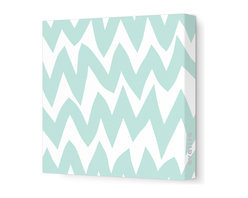 "Avalisa - Pattern - Zig Zag Stretched Wall Art, 28"" x 28"", Sea Green -"