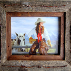 MyBarnwoodFrames - 8x10 Texas Vaquero Western Frame with Barbed Wire Quality Western - 8x10 most popular Western  Picture Frame. Quality reclaimed wood timber, with a light walnut-stained inside border.  Accented with barbed wire gives this  western picture frame a unique western look appropriate for any rustic or primitive western decor to beautify your home or office. Texas Vaquero Style.