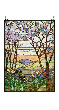"Meyda - 29""W X 40""H Tiffany Magnolia & Iris Stained Glass Window - Meyda's interpretation of louis comfort tiffany'smagnolia and iris window is made using hand cut glassindividually wrapped in copper foil. A beautifulselection of stained art glass in neutral tones ofearth browns, verdant greens, and majestic purples werehand selected to create this masterpiece. A solid brasshanging chain and brackets are included."