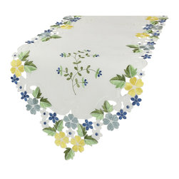 Xia Home Fashions - Fancy Flowers 15-Inch By 54-Inch Table Runner-Blue - Cheerful emboidered florals colorfully burst forth on lovely cutwork. A happy and warm accent to any setting!
