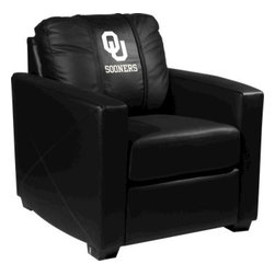 Dreamseat Inc. - University of Oklahoma NCAA White Logo Xcalibur Leather Arm Chair - Check out this incredible Arm Chair. It's the ultimate in modern styled home leather furniture, and it's one of the coolest things we've ever seen. This is unbelievably comfortable - once you're in it, you won't want to get up. Features a zip-in-zip-out logo panel embroidered with 70,000 stitches. Converts from a solid color to custom-logo furniture in seconds - perfect for a shared or multi-purpose room. Root for several teams? Simply swap the panels out when the seasons change. This is a true statement piece that is perfect for your Man Cave, Game Room, basement or garage.
