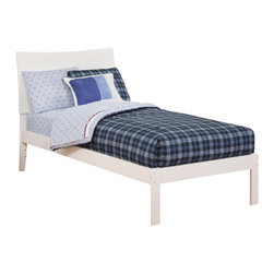 Atlantic Furniture - Atlantic Furniture Soho Bed with Open Foot Rail in White-Twin Size - Atlantic Furniture - Beds - AR9121002