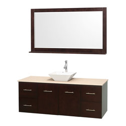 """Wyndham Collection - Centra Bathroom Vanity in Espresso,Marble Top,Pyra White Sink,58"""" Mir - Simplicity and elegance combine in the perfect lines of the Centra vanity by the Wyndham Collection. If cutting-edge contemporary design is your style then the Centra vanity is for you - modern, chic and built to last a lifetime. Available with green glass, pure white man-made stone, ivory marble or white carrera marble counters, with stunning vessel or undermount sink(s) and matching mirror(s). Featuring soft close door hinges, drawer glides, and meticulously finished with brushed chrome hardware. The attention to detail on this beautiful vanity is second to none."""