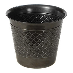 None - Gun Metal Check Metal 14-inch Planter (Set of 2) - With a glossy finish, this gunmetal planter is a great way to keep your plants on your deck or patio. The unique thimble design and shape of this planter is weatherproof and UV protected, so it will stay looking just as nice for years to come.