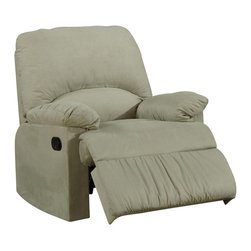 Coaster - Coaster Microfiber Upholstered Glider Recliner Chair in Sage - Coaster - Recliners - 600267G - Introduce casual style and unsurpassed comfort into any room of your home with this microfiber upholstered glider recliner. The gentle back and forth movement of this glider make it an optimal choice for watching TV reading the paper or rocking baby to sleep. The reclining mechanism is exterior handle operated. This glider recliner is wrapped in a super soft microfiber the perfect choice for style and comfort.