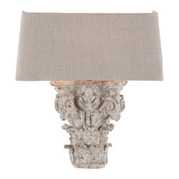 Kathy Kuo Home - Pair Francesca French Country Architectural Fragment Wall Sconces - Inspired by fragments of European columns the Francesca Wall Sconce has a distressed white finish.  Price marked is for a pair.