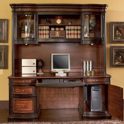 Coaster - Black / Cherry Traditional Desk - This grand style home office collection is sure to make a bold statement in any office. Crafted from select veneers and hardwood solids. Desk features seven drawers, upper drawers are felt-lined, drawers are dove-tailed and corner-blocked for added durability, and also features locking file drawers. Desk and credenza feature ball bearing glides, powerstrip, and drop front keyboard drawers. Credenza features task lighting and curved glass door fronts in hutch. Matching file cabinet features a locking drawer, while the bookcase offers three shelves and a lower cabinet with doors.