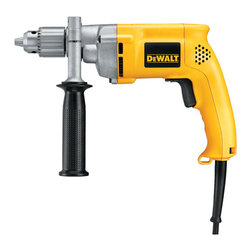 Dewalt - 1/2In Dewalt Variable Speed Reversible Drill - Variable speed and reversing switch, metal gear housing for jobsite durability, made of helical cut steel, heat treated gears, two finger trigger for increased comfort.  Specs: 0-850 rpm no-load speed, 600 watts maximum output power, 360 degree side handl  e, double gear reduction. Includes: chuck key with holder.        This item cannot be shipped to APO/FPO addresses.  Please accept our apologies