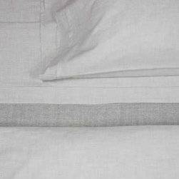 Area - Heather Cement Duvet Cover - Fancy heathered beige yarns woven into a soft cotton percale.