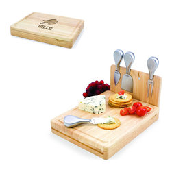 Picnic Time - Buffalo Bills Asiago Folding Cutting Board With Tools in Natural Wood - The Asiago is a folding cutting board with tools that is another Picnic Time original design. This compact, fully-contained split-level cutting board is made of eco-friendly rubberwood. Lift up the top level of the board to reveal four brushed stainless steel cheese tools: a pointed-tipped cheese knife, cheese fork, cheese chisel knife, and blunt nosed hard cheese knife. The tools are magnetically secured to a wooden strip that lifts up so you can close the cutting board and display the tools. Designed with convenience in mind, the Asiago is great for home or anywhere the party takes you.; Decoration: Engraved; Includes: 4 brushed stainless steel cheese tools (1 pointed-tipped hard cheese knife, cheese fork, cheese chisel knife, and blunt nosed soft cheese knife