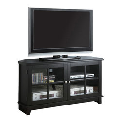 "Monarch Specialties - Monarch Specialties 3540 48 Inch Corner TV Console in Black - This TV console blends style and innovation in a classic transitional design. Finished in midnight black and constructed from solid wood and wood veneer this TV console is sharp in appearance and function. The specifically designed chamfered corners (Side angles) allow for this console to be placed perfectly in the corner of the room or flat against any wall. The closed storage compartments is designed to accommodate most any home entertainment components and feature framed and paneled tempered glass doors. This TV console will accommodate most flat panel TVs up to 60""."