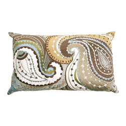 Embroidered Paisley Pillow, Blue - This pillow belongs in my house. I may just have to go buy it.