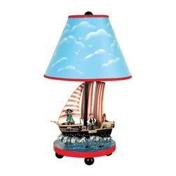 "GuideCraft - Pirate Table Lamp - Sets the theme for adventure on the high seas and search for buried treasure. Bold colors create the perfect background for inspiring images of ships at full sail, treasure chests, and mysterious maps where ""X"" marks the spot. 9 in. W x 9 in. L x 16 in. H"