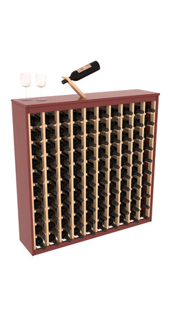Two Tone 100 Bottle Deluxe Wine Rack in Pine with Cherry/Natural Stain - Styled to appear as wine rack furniture, this wooden wine rack will match existing decor while storing 100 bottles of wine. Designed to look like a freestanding wine cabinet, the solid top and sides promote the cool and dark storage area necessary for aging wine properly. Your satisfaction and our racks are guaranteed.  All Two-Tone racks include a professional grade eco-friendly satin finish and come with a free matching magic bottle balancer.